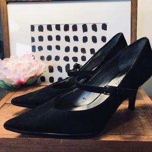 Black suede Mary Jane heels pointy